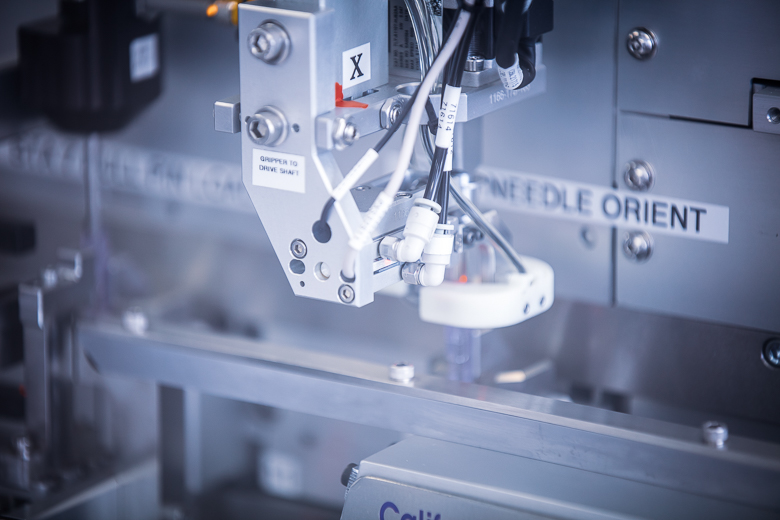 Automated needle assembly robotics at Intricon, a global leader in micromedical technology and joint development manufacturing