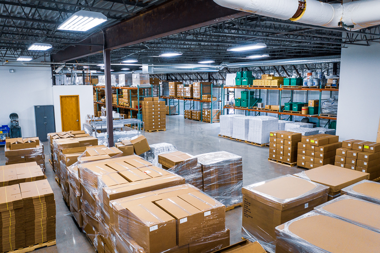 Warehouse space at Intricon, a global leader in micromedical technology and joint development manufacturing