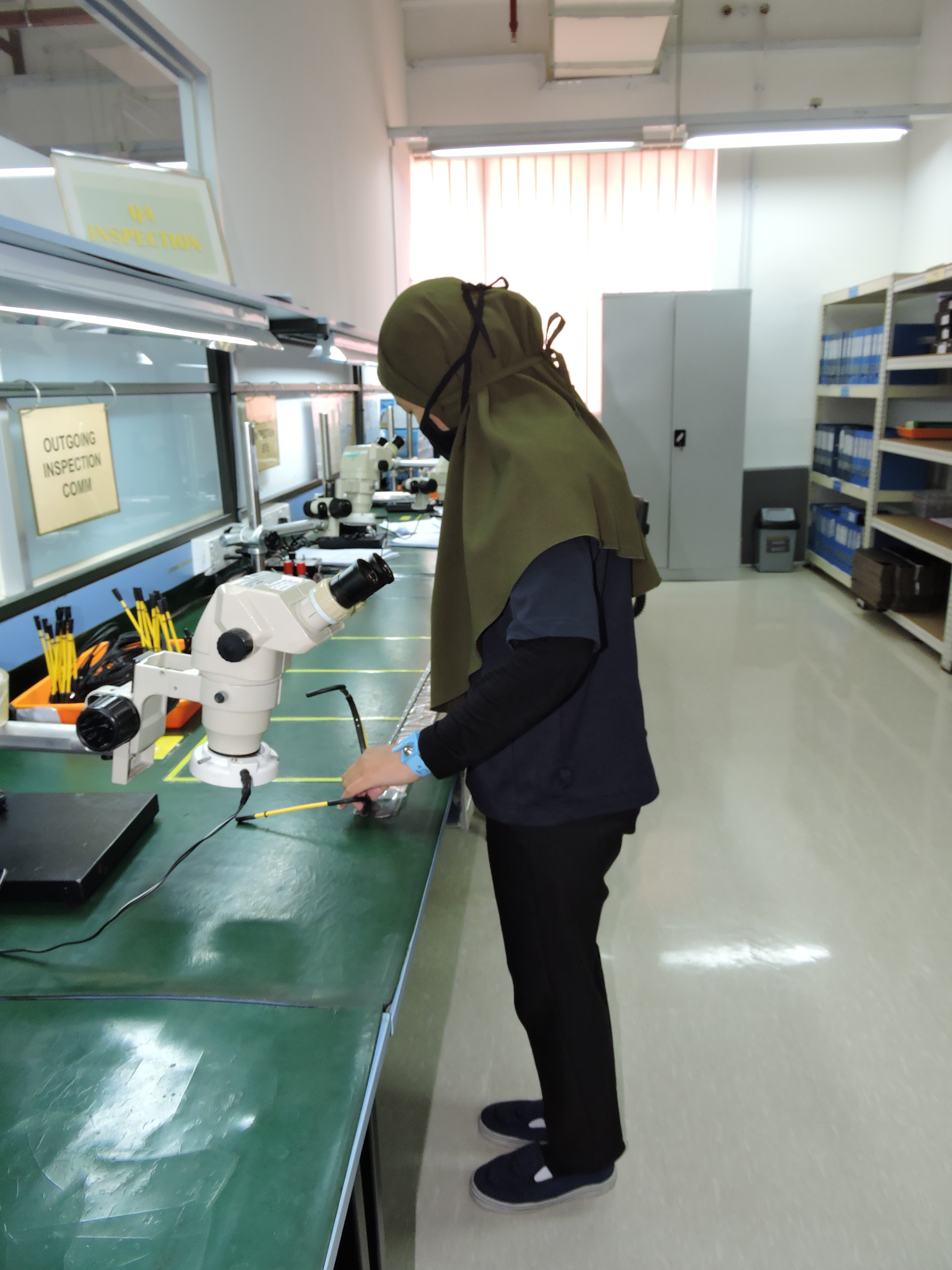 QA inspection at Intricon, a global leader in micromedical technology and joint development manufacturer