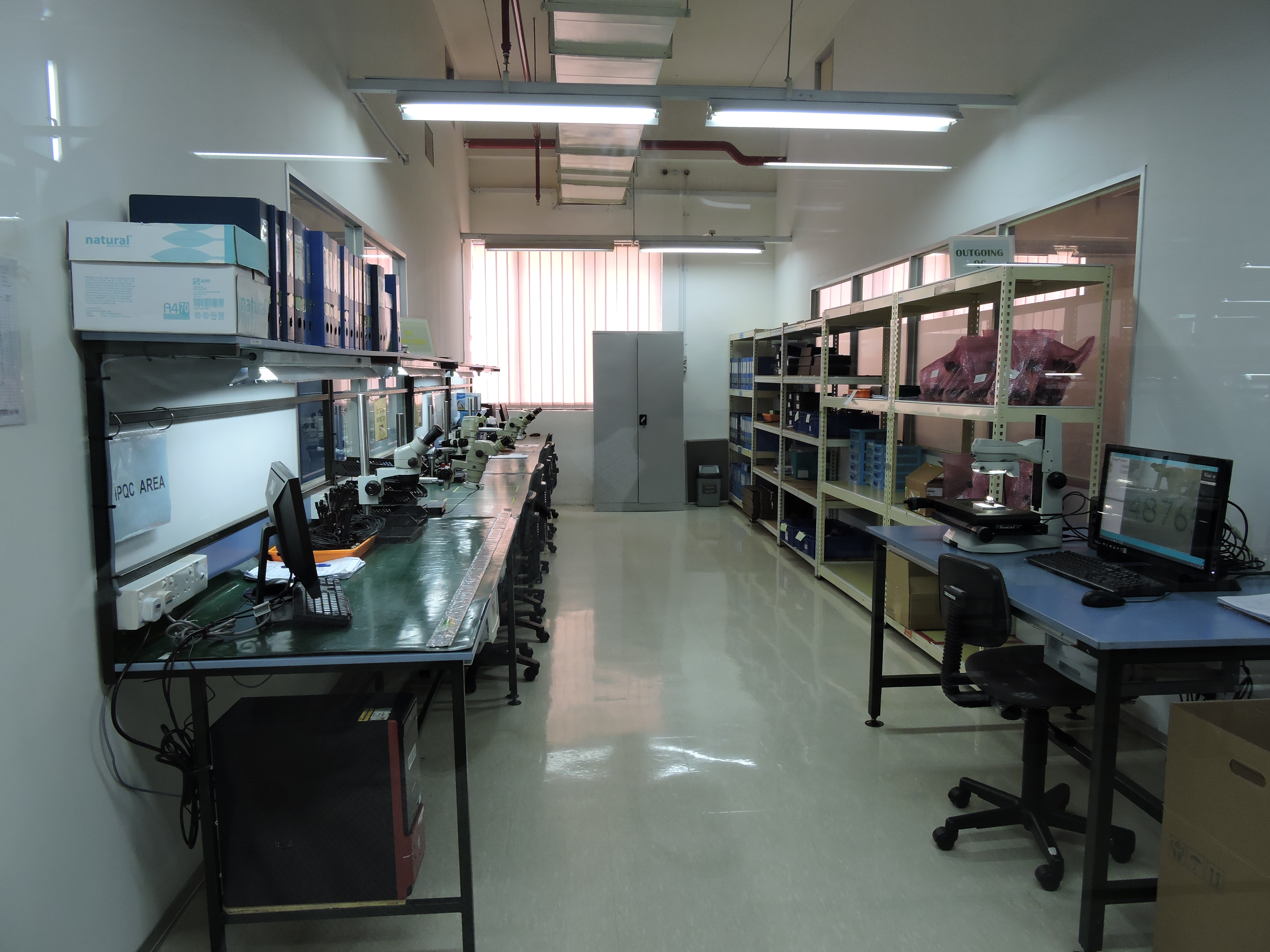 A QA inspection room at Intricon, a global leader in micromedical technology and joint development manufacturer